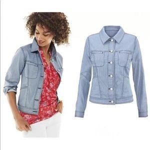 Cabi locomotive denim jacket women's size large